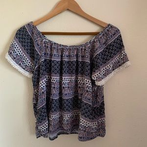 Charlotte Russe Pattered Lace Blouse Top Medium